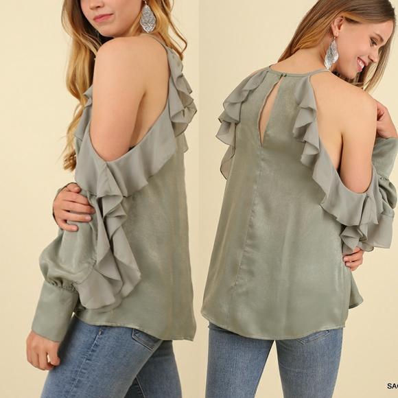 33468382642de3 Sage Green Cold Shoulder Ruffle Top Shirt
